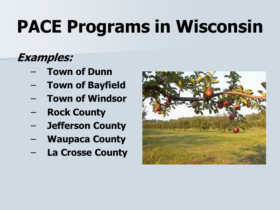 PACE Programs in Wisconsin Examples: – –Town of Dunn – –Town of Bayfield – –Town of Windsor – –Rock County – –Jefferson County – –Waupaca County – –La Crosse County