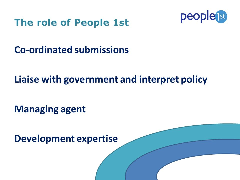 The role of People 1st Co-ordinated submissions Liaise with government and interpret policy Managing agent Development expertise