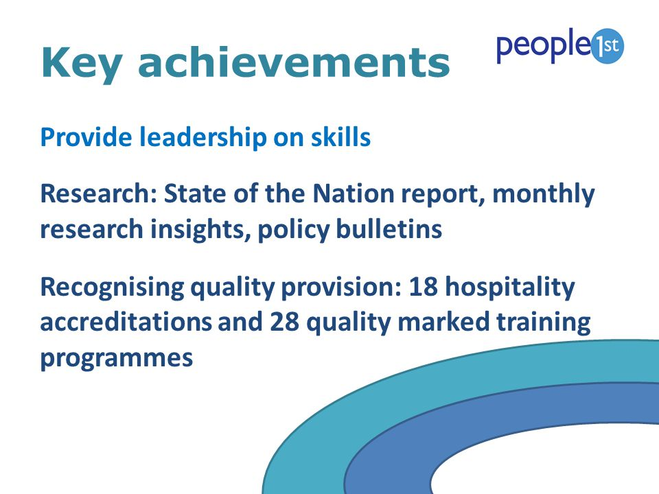 Key achievements Provide leadership on skills Research: State of the Nation report, monthly research insights, policy bulletins Recognising quality pr