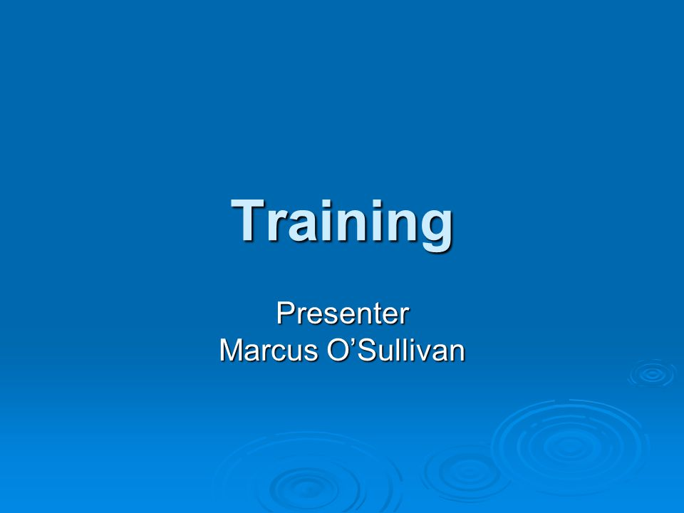 Training Presenter Marcus O'Sullivan