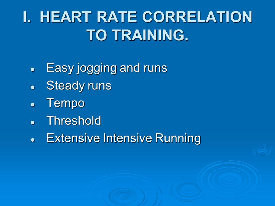 I. HEART RATE CORRELATION TO TRAINING. Easy jogging and runs Easy jogging and runs Steady runs Steady runs Tempo Tempo Threshold Threshold Extensive I