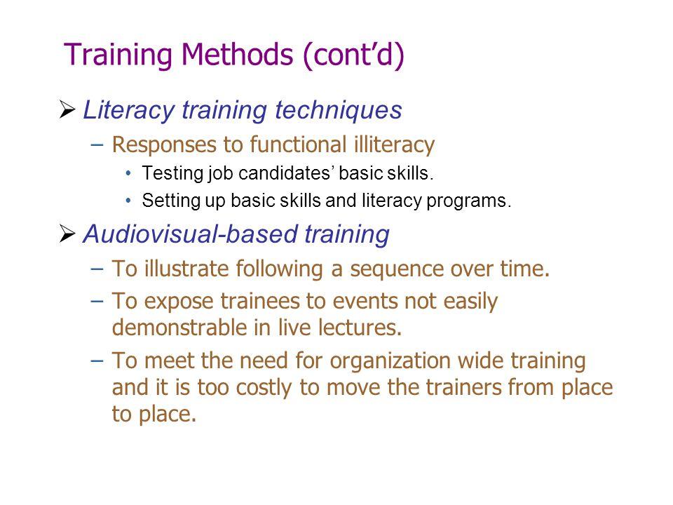Training Methods (cont'd)  Literacy training techniques –Responses to functional illiteracy Testing job candidates' basic skills. Setting up basic sk