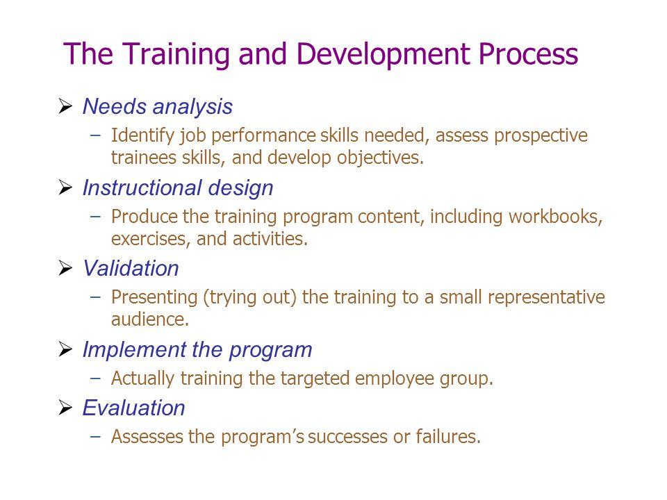 The Training and Development Process  Needs analysis –Identify job performance skills needed, assess prospective trainees skills, and develop objecti