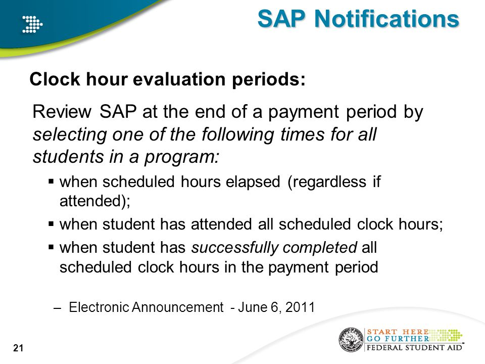 SAP Notifications Clock hour evaluation periods: Review SAP at the end of a payment period by selecting one of the following times for all students in a program:  when scheduled hours elapsed (regardless if attended);  when student has attended all scheduled clock hours;  when student has successfully completed all scheduled clock hours in the payment period –Electronic Announcement - June 6, 2011 21