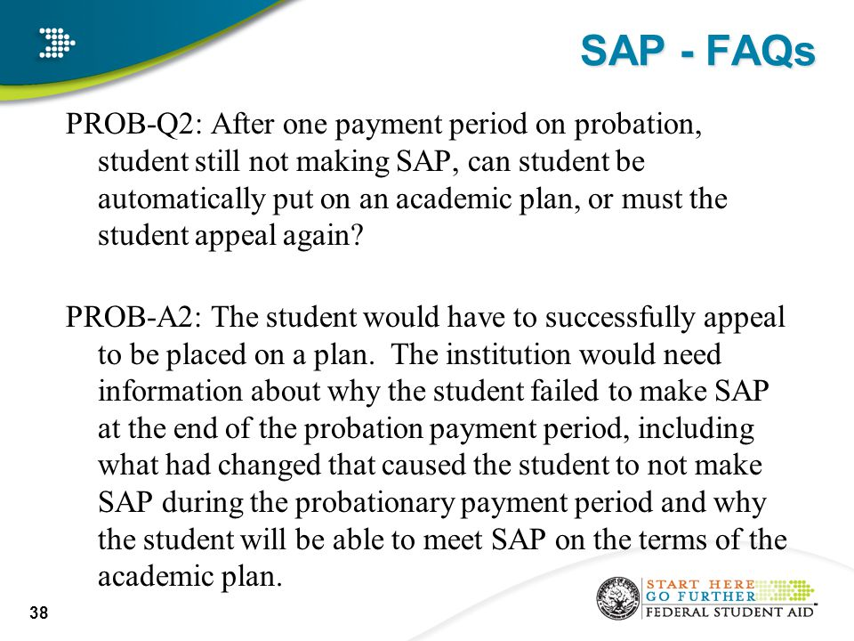 SAP - FAQs PROB-Q2: After one payment period on probation, student still not making SAP, can student be automatically put on an academic plan, or must the student appeal again.