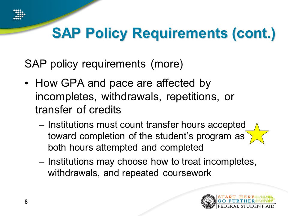 SAP Policy Requirements (cont.) SAP policy requirements (more) How GPA and pace are affected by incompletes, withdrawals, repetitions, or transfer of credits –Institutions must count transfer hours accepted toward completion of the student's program as both hours attempted and completed –Institutions may choose how to treat incompletes, withdrawals, and repeated coursework 8