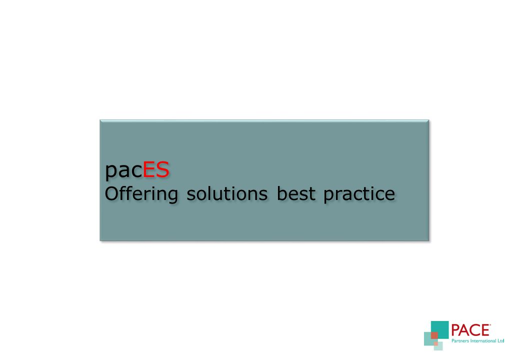 pacES Offering solutions best practice