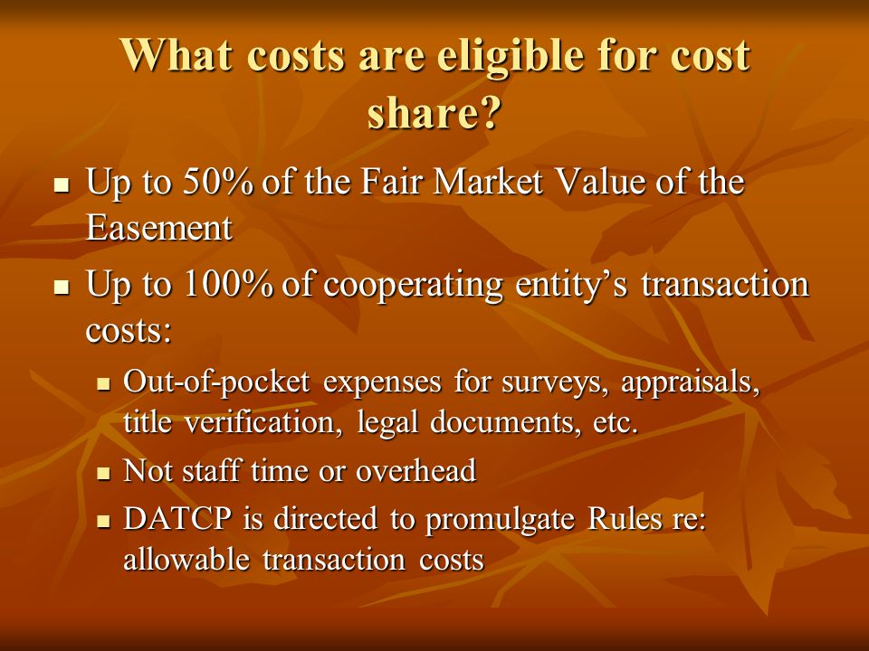What costs are eligible for cost share.