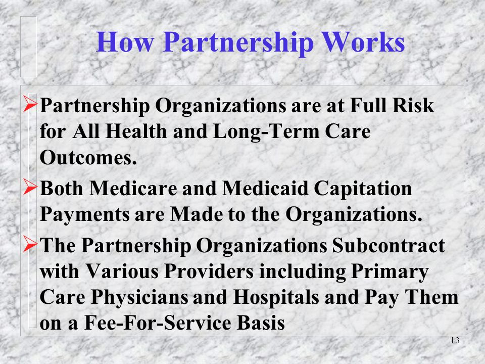 13 How Partnership Works  Partnership Organizations are at Full Risk for All Health and Long-Term Care Outcomes.