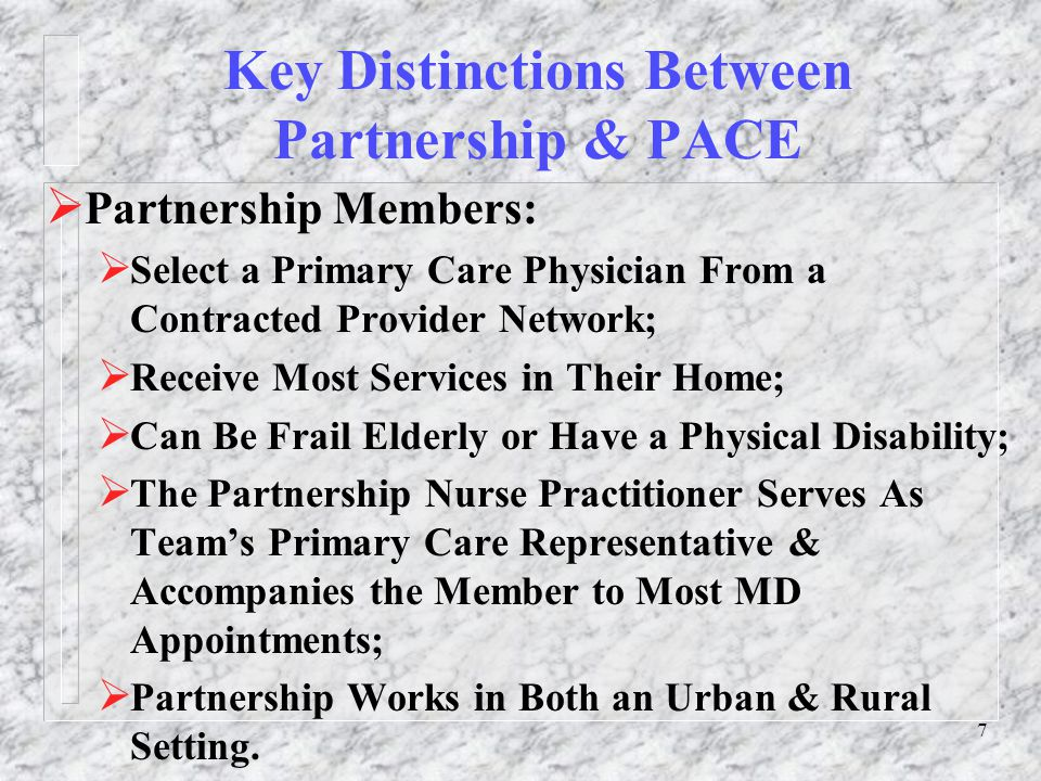 18 Measuring Outcomes of the Partnership Program  The Department of Health and Family Services is using several methods, both traditional and innovative, to measure quality & effectiveness:  14 Member Outcomes Based on Member's Input about his/her Quality of Life;  Incidence of ACSCs (ambulatory care sensitive conditions);  Utilization of Inpatient Hospital & Nursing Home Care Before & After Partnership.