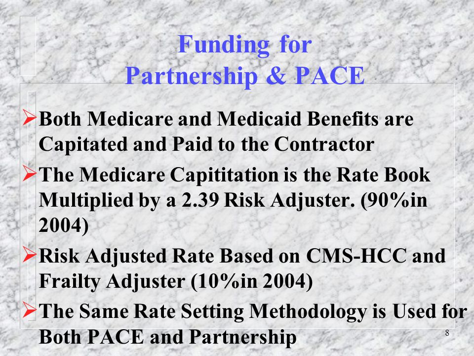 9 Funding for Partnership & PACE  Medicaid Capitation is Calculated by Discounting a Blended Average Cost for Nursing Home Care and Home and Community Bases Waiver Programs Costs.