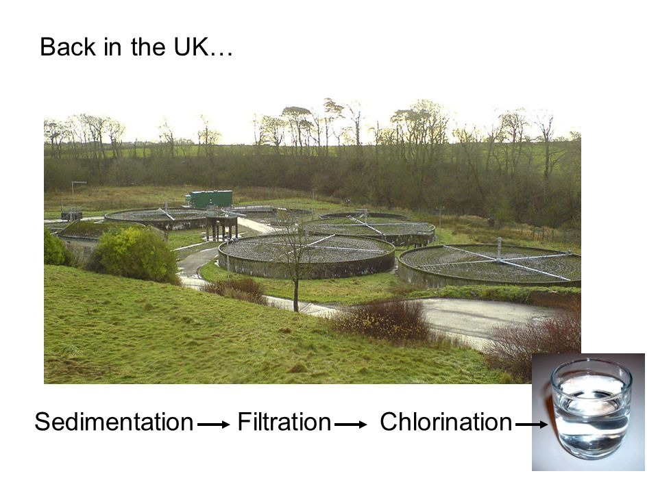 FiltrationChlorinationSedimentation Back in the UK…