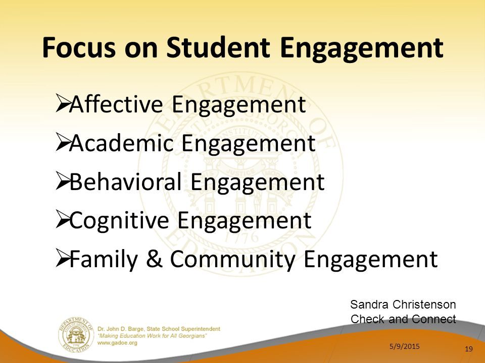  Affective Engagement  Academic Engagement  Behavioral Engagement  Cognitive Engagement  Family & Community Engagement 19 Focus on Student Engagement Sandra Christenson Check and Connect 5/9/2015