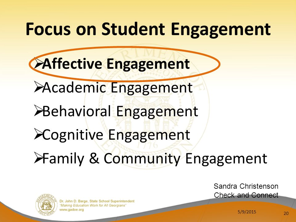  Affective Engagement  Academic Engagement  Behavioral Engagement  Cognitive Engagement  Family & Community Engagement 20 Focus on Student Engagement Sandra Christenson Check and Connect 5/9/2015