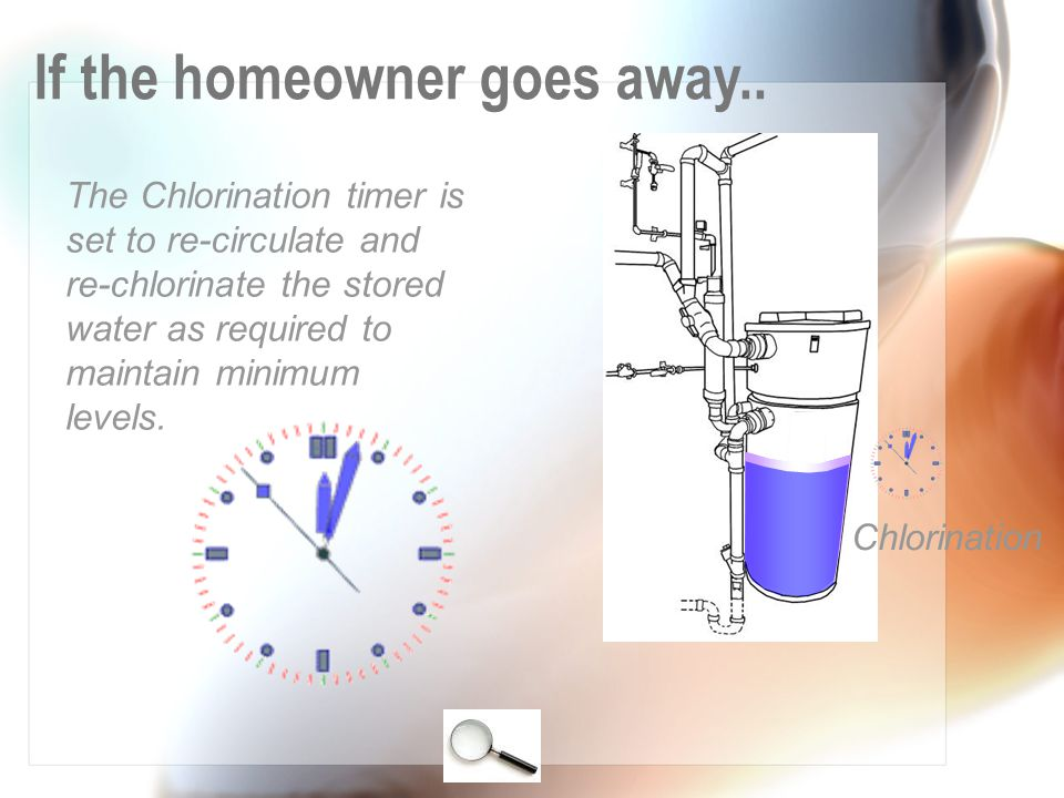 The Chlorination timer is set to re-circulate and re-chlorinate the stored water as required to maintain minimum levels.