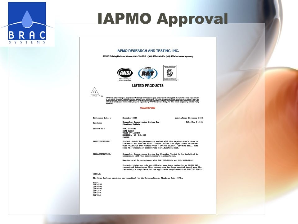 IAPMO Approval