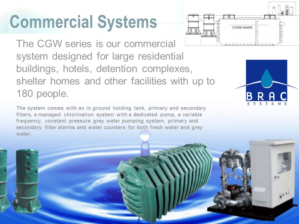 Commercial Systems The CGW series is our commercial system designed for large residential buildings, hotels, detention complexes, shelter homes and other facilities with up to 180 people.