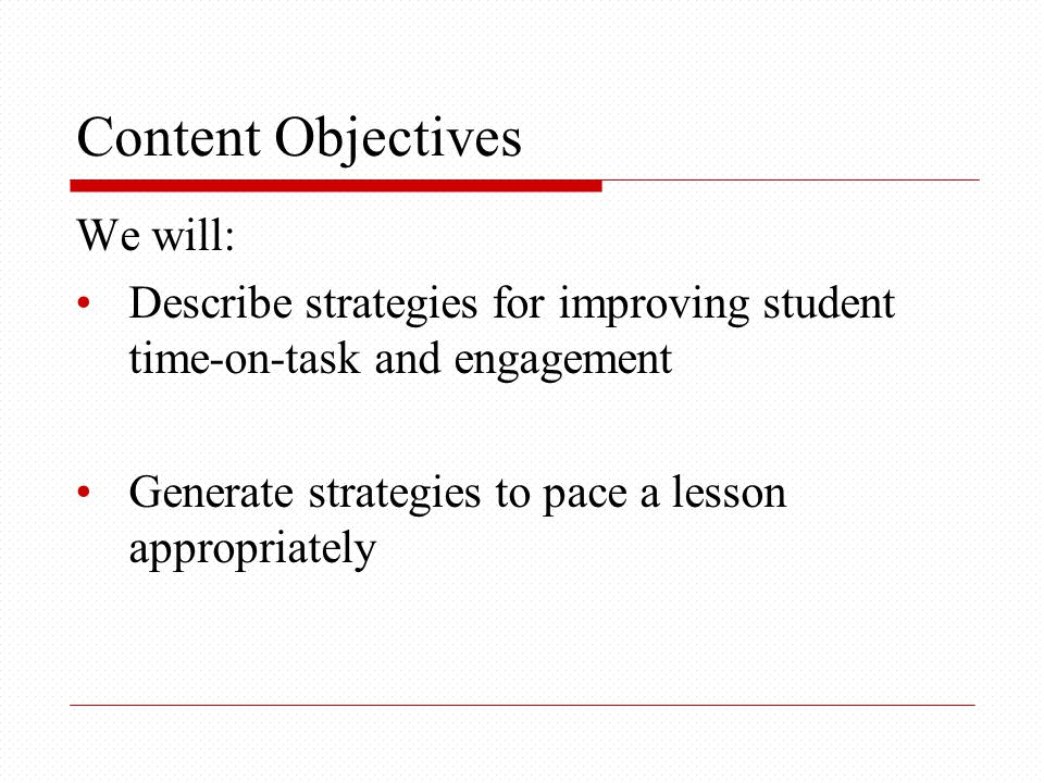 Language Objectives We will: Use because to explain why content and language objectives are important.