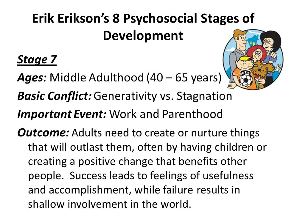 Erik Erikson's 8 Psychosocial Stages of Development Stage 6 Ages: Young Adulthood (18 – 40 years) Basic Conflict: Intimacy vs.