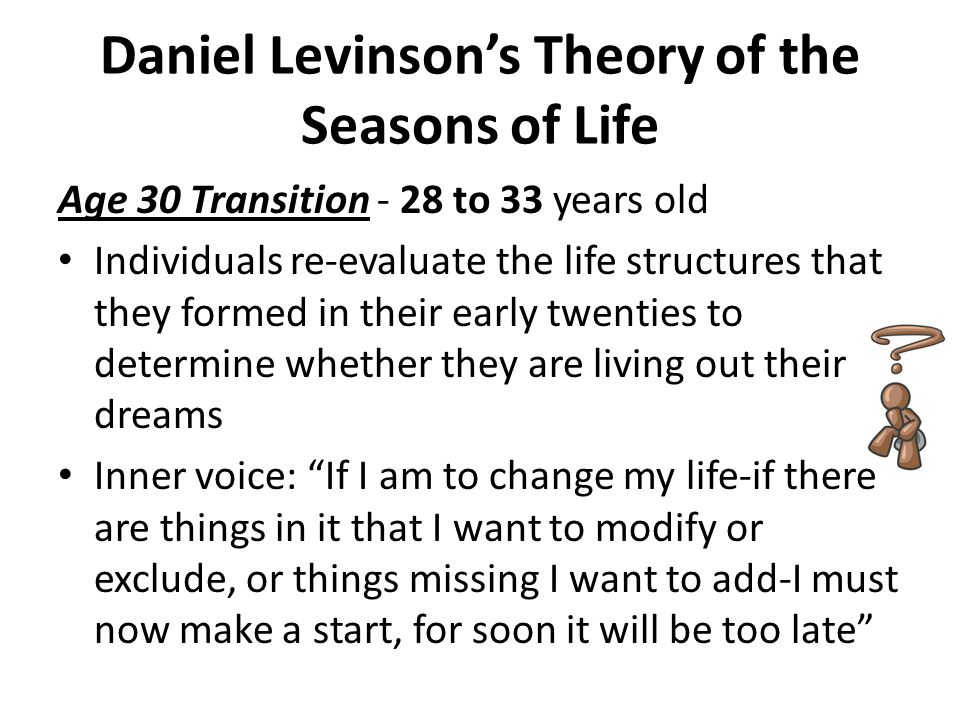 Daniel Levinson's Theory of the Seasons of Life Entering The Adult World The problem is that until individuals begin to live out the life structure, they do not know all of the possibilities Yet without some commitment to the choices they have made, it is not possible to determine whether the life structure might be realistic or satisfying
