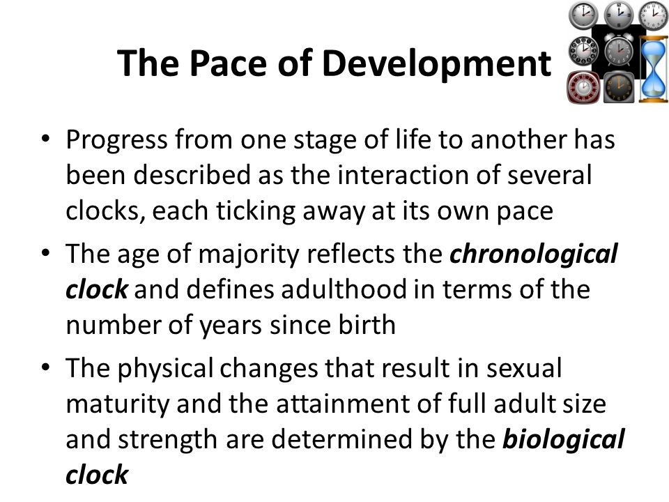 The Pace of Development Progress from one stage of life to another has been described as the interaction of several clocks, each ticking away at its own pace The age of majority reflects the chronological clock and defines adulthood in terms of the number of years since birth The physical changes that result in sexual maturity and the attainment of full adult size and strength are determined by the biological clock
