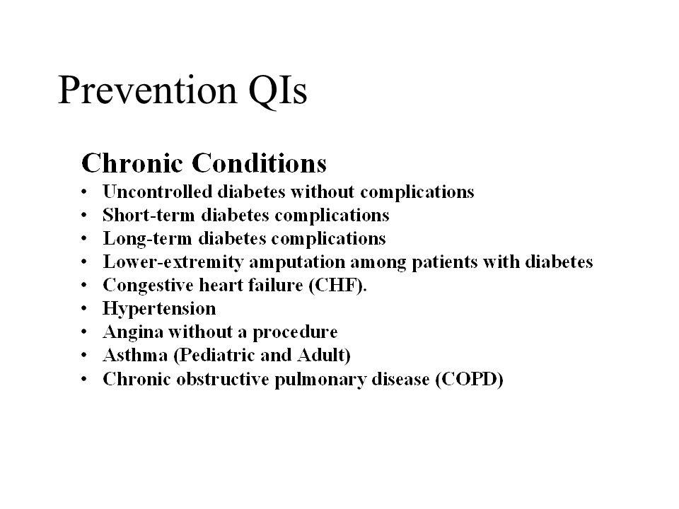 Preventive QIs Acute –Bacterial Pneumonia –Urinary Tract Infection –Ruptured Appendix –Pelvic Inflammatory Disease –Gastroenteritis (Pediatric)