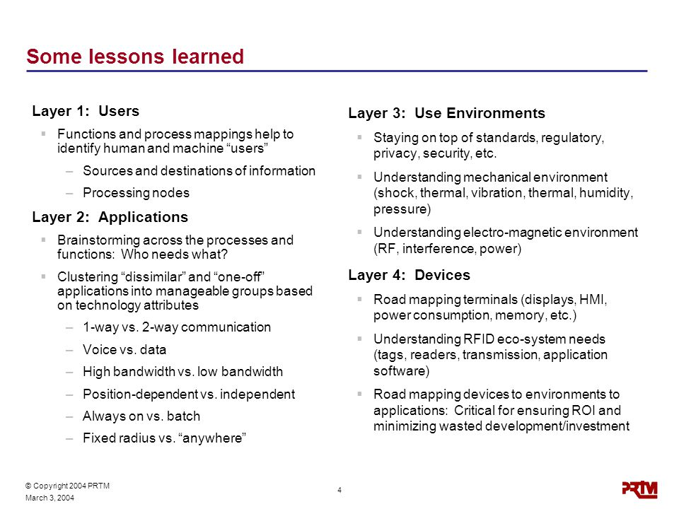 © Copyright 2004 PRTM March 3, 2004 4 Some lessons learned Layer 1: Users  Functions and process mappings help to identify human and machine users –Sources and destinations of information –Processing nodes Layer 2: Applications  Brainstorming across the processes and functions: Who needs what.