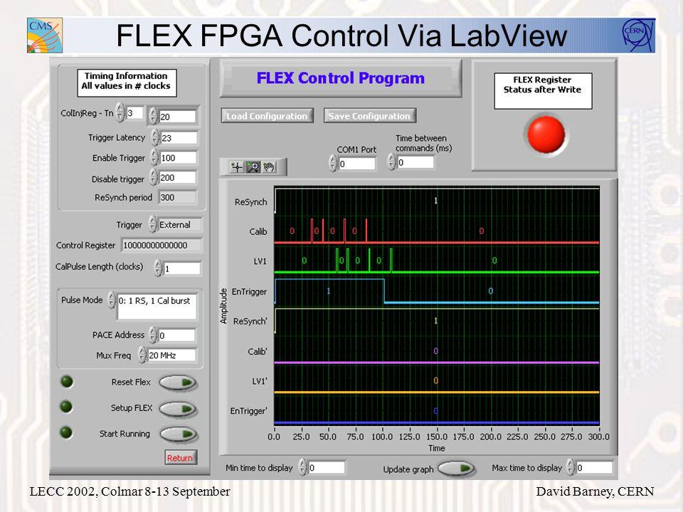 LECC 2002, Colmar 8-13 SeptemberDavid Barney, CERN FLEX FPGA Control Via LabView