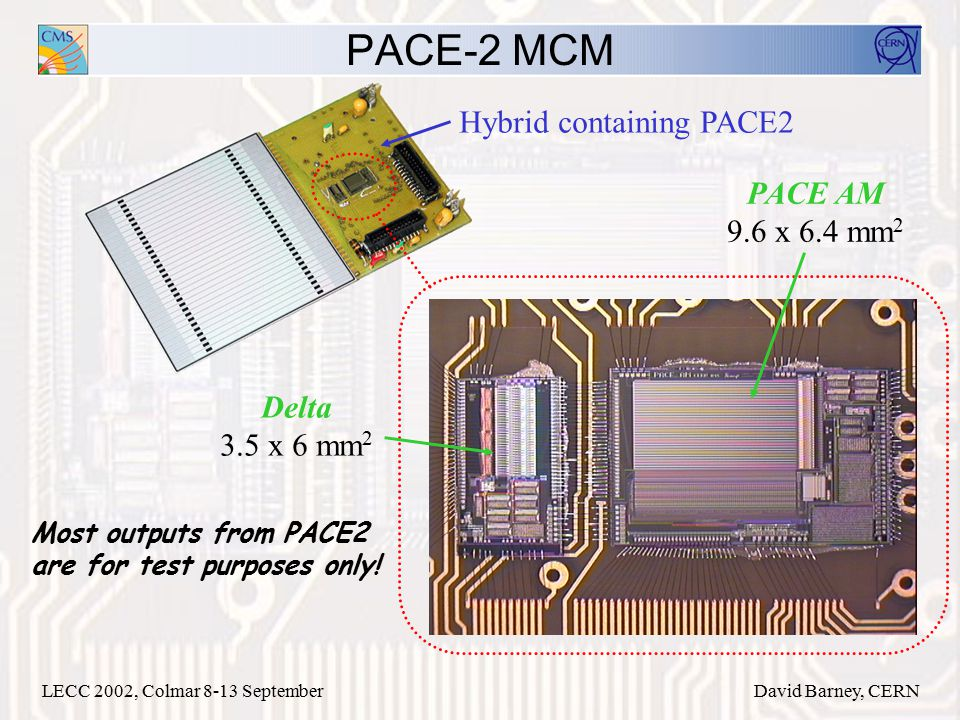 LECC 2002, Colmar 8-13 SeptemberDavid Barney, CERN PACE-2 MCM Delta 3.5 x 6 mm 2 PACE AM 9.6 x 6.4 mm 2 Hybrid containing PACE2 Most outputs from PACE2 are for test purposes only!