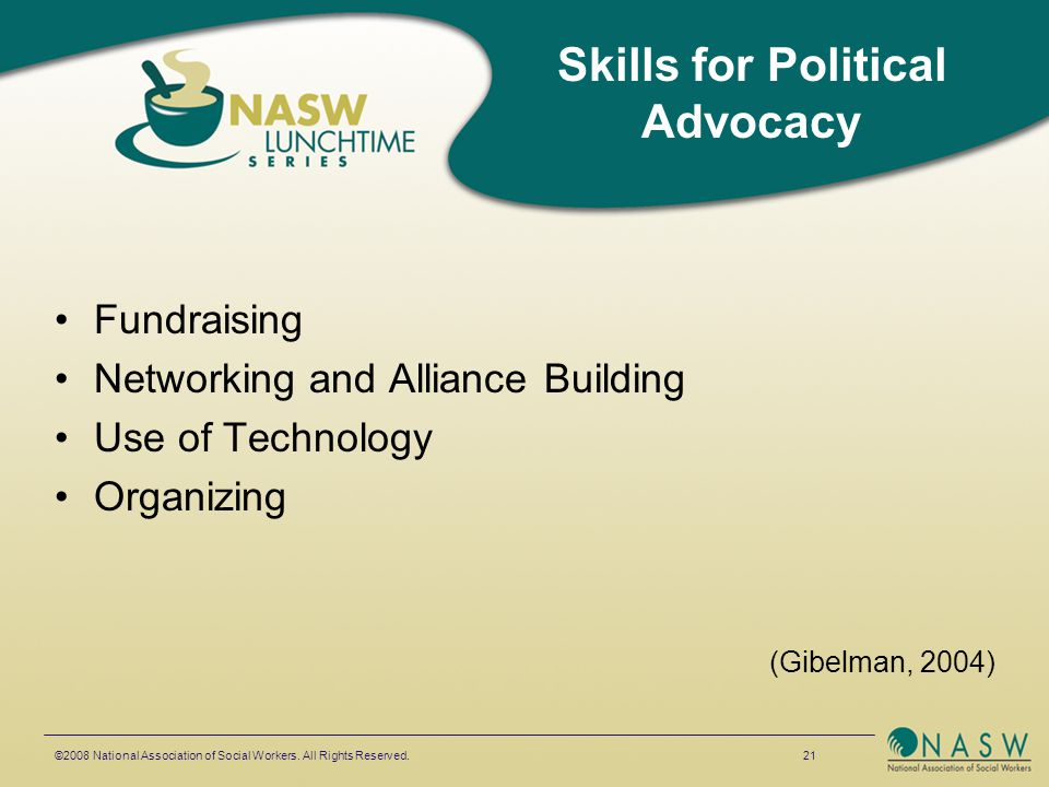 Fundraising Networking and Alliance Building Use of Technology Organizing (Gibelman, 2004) ©2008 National Association of Social Workers.