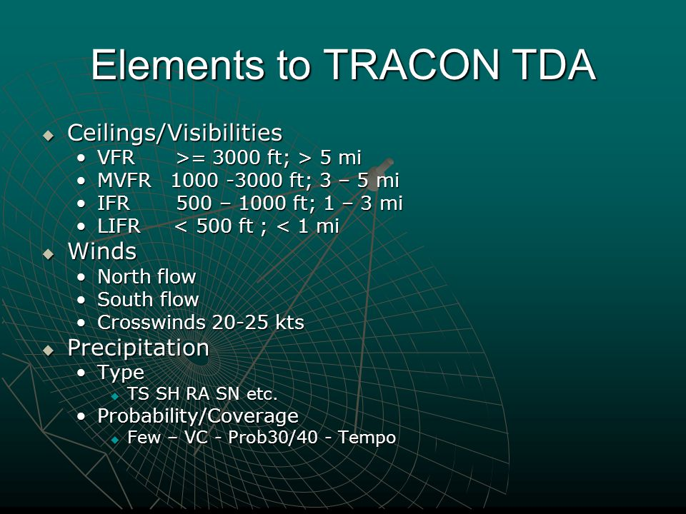 Elements to TRACON TDA  Ceilings/Visibilities VFR >= 3000 ft; > 5 miVFR >= 3000 ft; > 5 mi MVFR 1000 -3000 ft; 3 – 5 miMVFR 1000 -3000 ft; 3 – 5 mi IFR 500 – 1000 ft; 1 – 3 miIFR 500 – 1000 ft; 1 – 3 mi LIFR < 500 ft ; < 1 miLIFR < 500 ft ; < 1 mi  Winds North flowNorth flow South flowSouth flow Crosswinds 20-25 ktsCrosswinds 20-25 kts  Precipitation TypeType  TS SH RA SN etc.