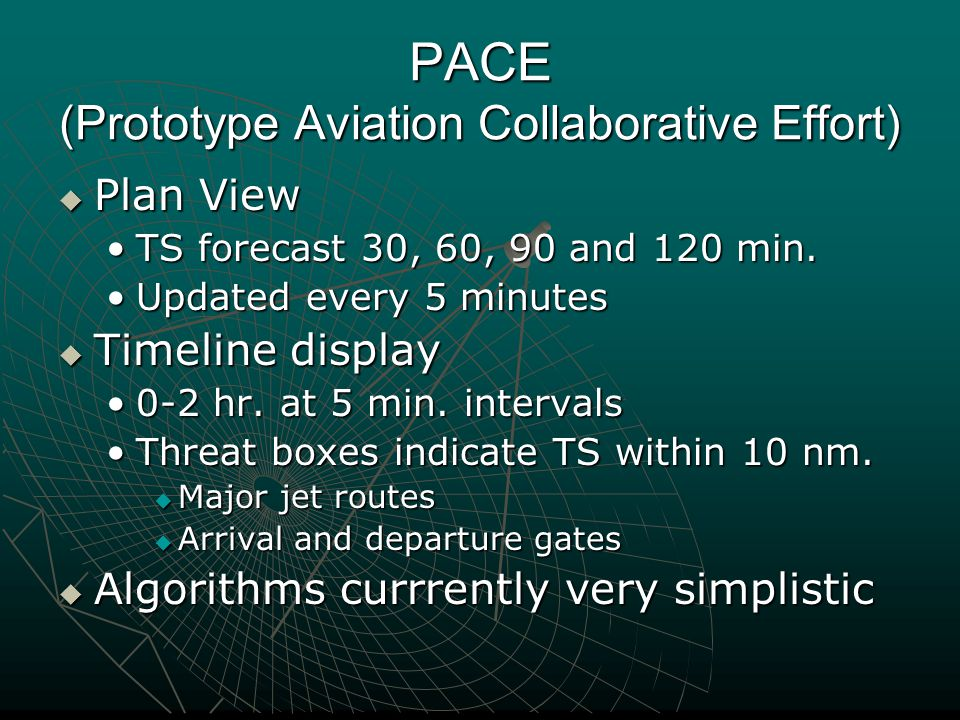 PACE (Prototype Aviation Collaborative Effort)  Plan View TS forecast 30, 60, 90 and 120 min.TS forecast 30, 60, 90 and 120 min.