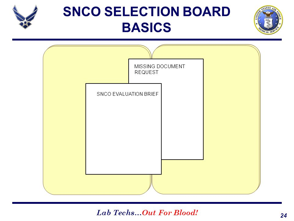 24 Lab Techs…Out For Blood! SNCO SELECTION BOARD BASICS MISSING DOCUMENT REQUEST SNCO EVALUATION BRIEF