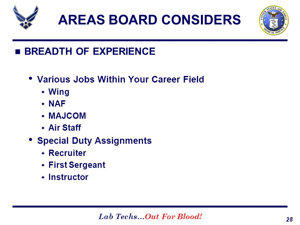 28 Lab Techs…Out For Blood! AREAS BOARD CONSIDERS BREADTH OF EXPERIENCE Various Jobs Within Your Career Field  Wing  NAF  MAJCOM  Air Staff Specia