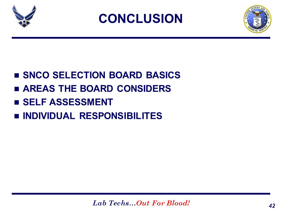 42 Lab Techs…Out For Blood! CONCLUSION SNCO SELECTION BOARD BASICS AREAS THE BOARD CONSIDERS SELF ASSESSMENT INDIVIDUAL RESPONSIBILITES