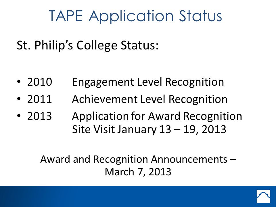 TAPE Application Status St.