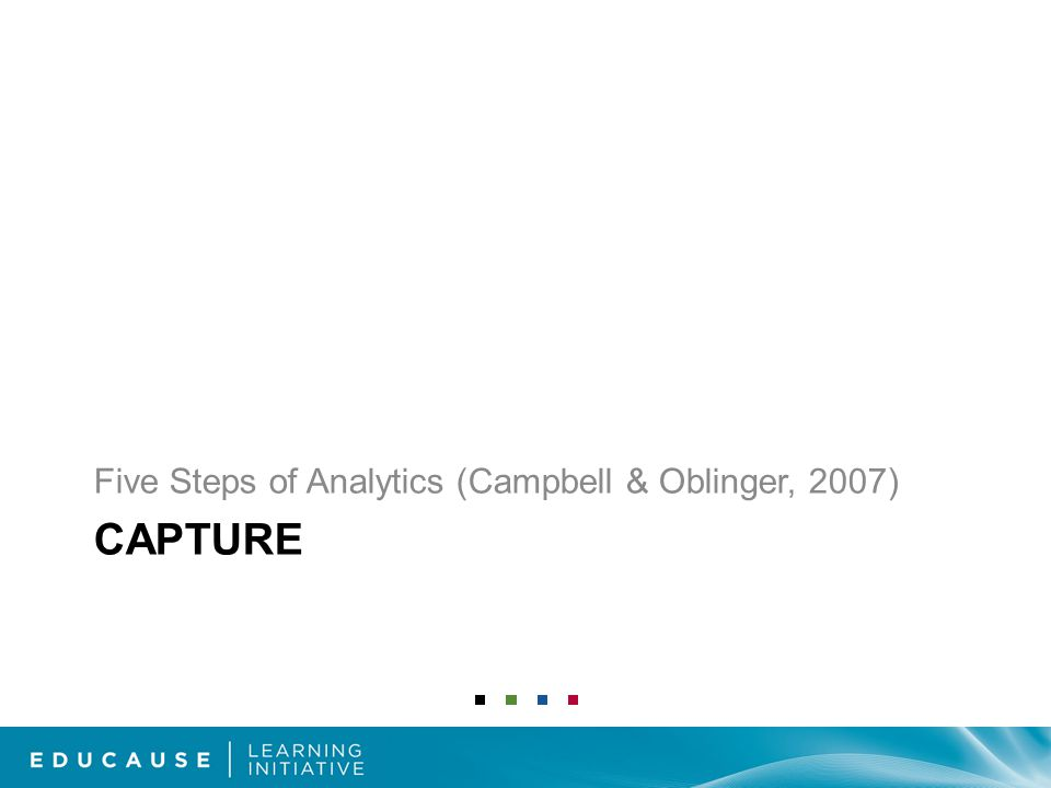 CAPTURE Five Steps of Analytics (Campbell & Oblinger, 2007)