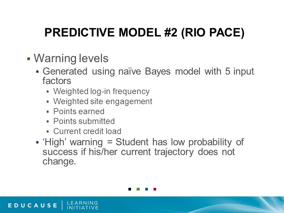 PREDICTIVE MODEL #2 (RIO PACE)  Warning levels  Generated using naïve Bayes model with 5 input factors  Weighted log-in frequency  Weighted site engagement  Points earned  Points submitted  Current credit load  'High' warning = Student has low probability of success if his/her current trajectory does not change.
