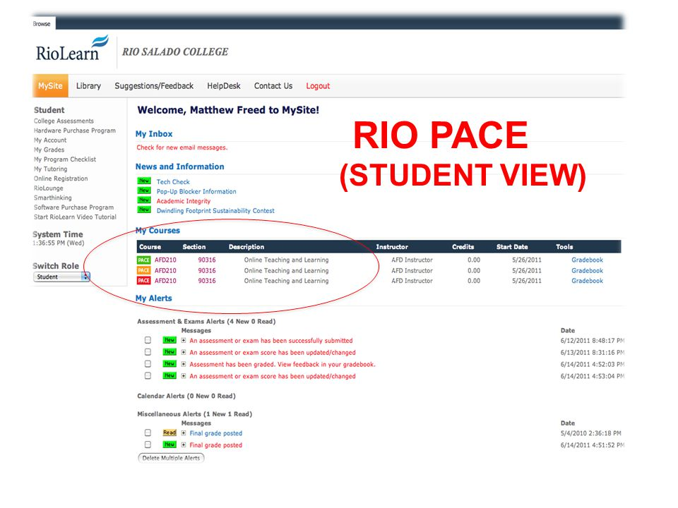 RIO PACE (STUDENT VIEW)