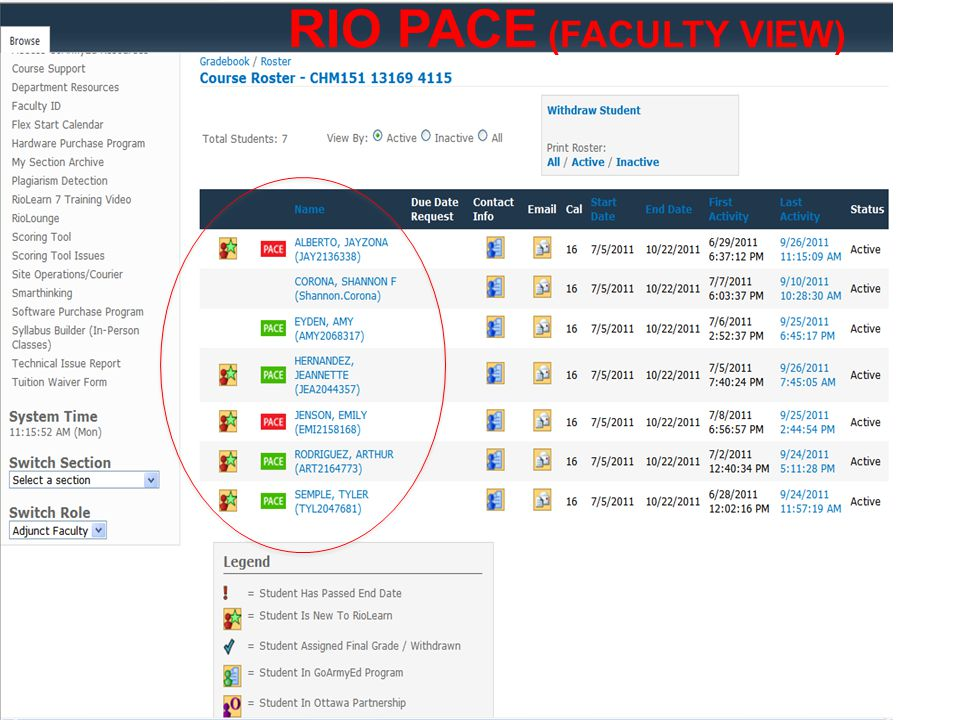 RIO PACE (FACULTY VIEW)