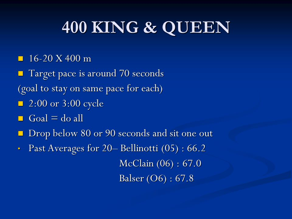 400 KING & QUEEN 16-20 X 400 m 16-20 X 400 m Target pace is around 70 seconds Target pace is around 70 seconds (goal to stay on same pace for each) 2:
