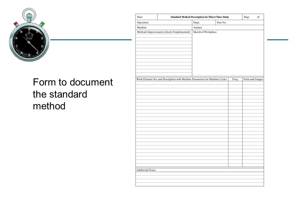 13.1 Form to document the standard method
