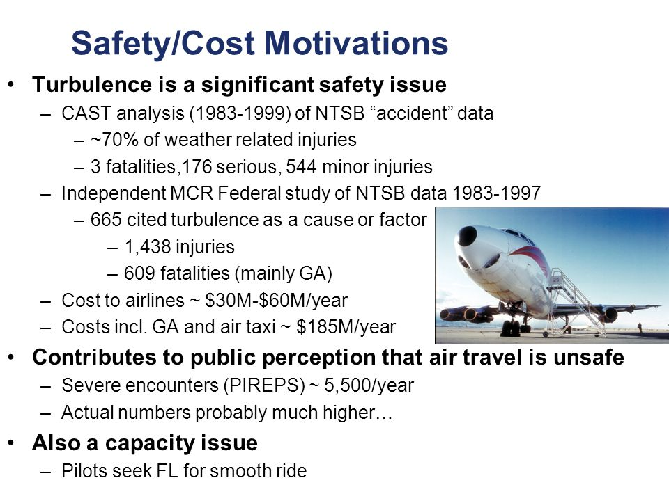 3 Federal Aviation Administration Progress in Turbulence Information September 27, 2007 Safety/Cost Motivations Turbulence is a significant safety issue –CAST analysis (1983-1999) of NTSB accident data –~70% of weather related injuries –3 fatalities,176 serious, 544 minor injuries –Independent MCR Federal study of NTSB data 1983-1997 –665 cited turbulence as a cause or factor –1,438 injuries –609 fatalities (mainly GA) –Cost to airlines ~ $30M-$60M/year –Costs incl.