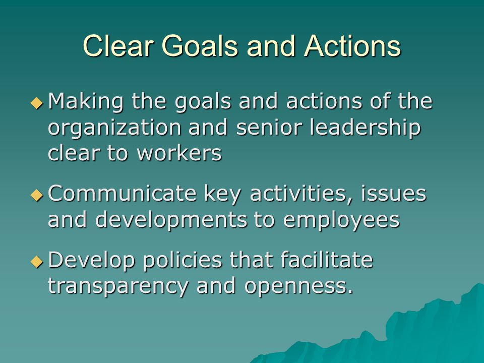 Clear Goals and Actions  Making the goals and actions of the organization and senior leadership clear to workers  Communicate key activities, issues and developments to employees  Develop policies that facilitate transparency and openness.