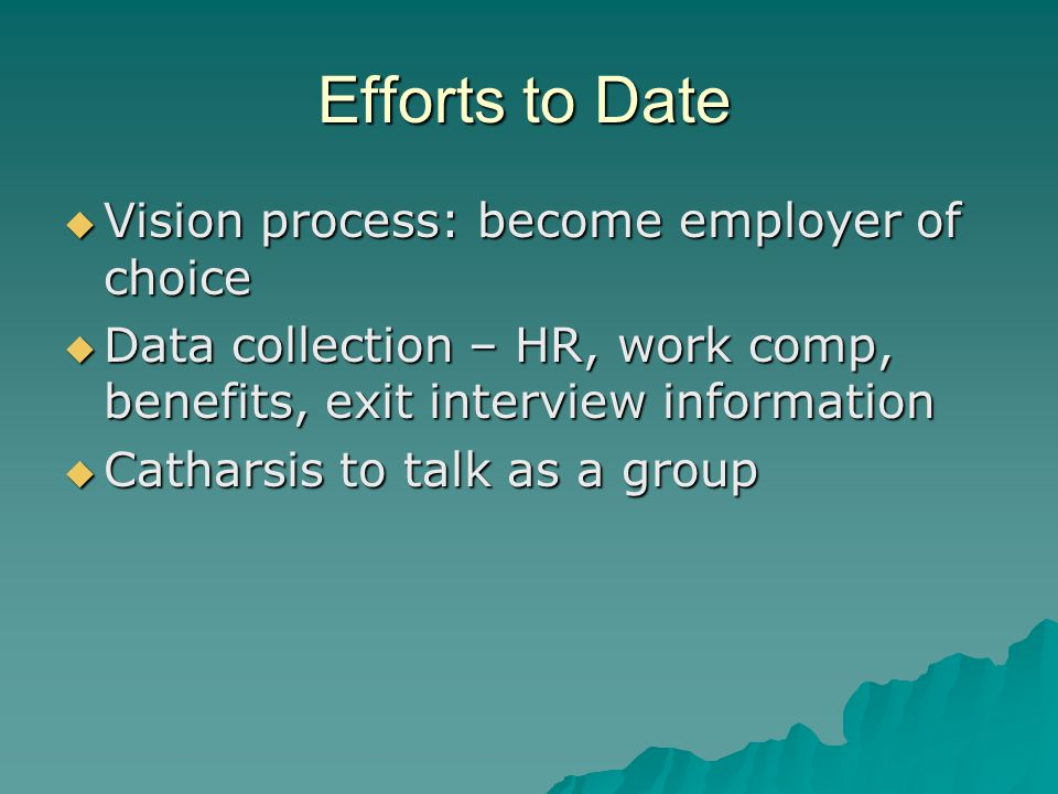 Efforts to Date  Vision process: become employer of choice  Data collection – HR, work comp, benefits, exit interview information  Catharsis to talk as a group