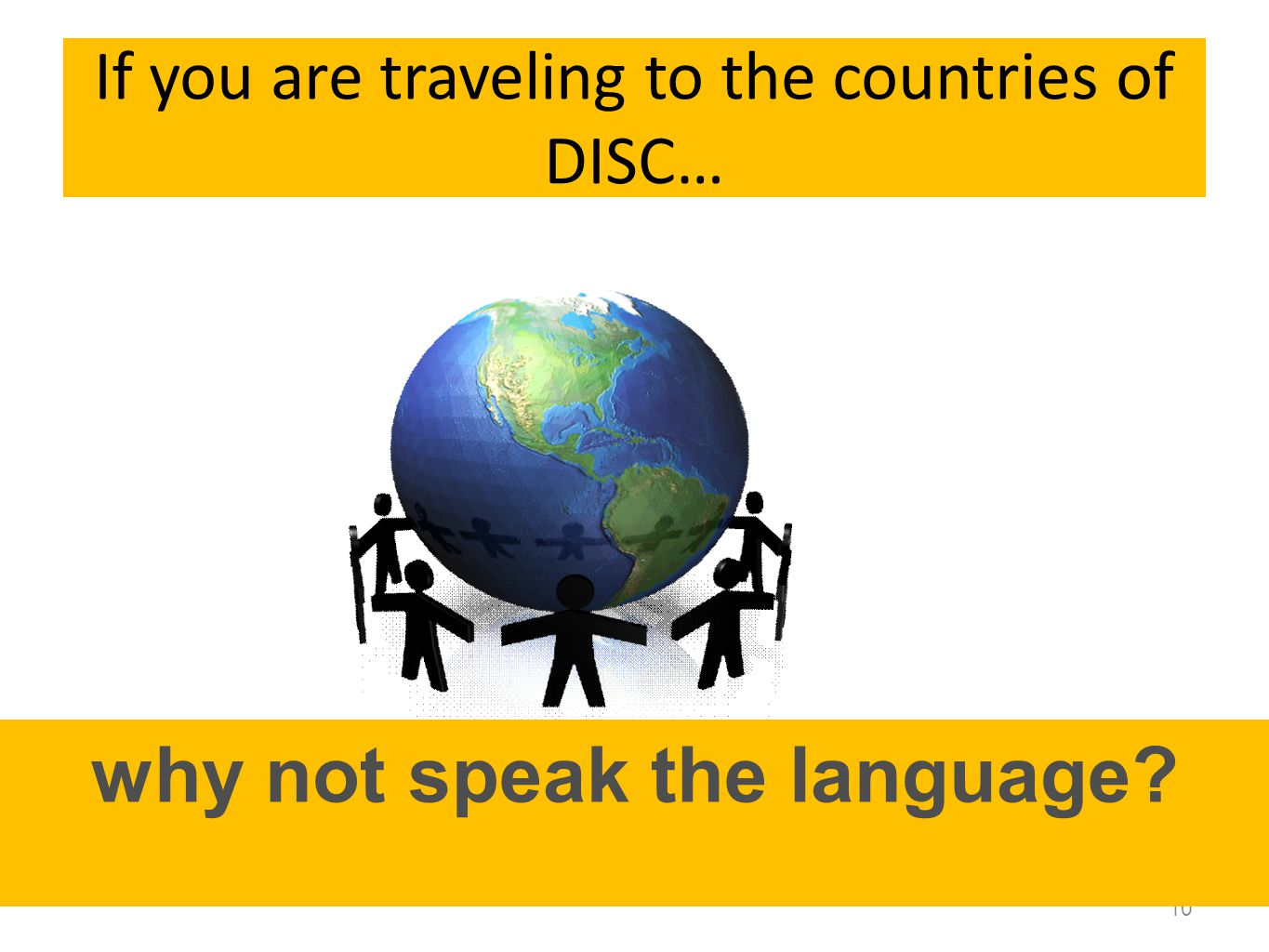 If you are traveling to the countries of DISC… 10 why not speak the language?