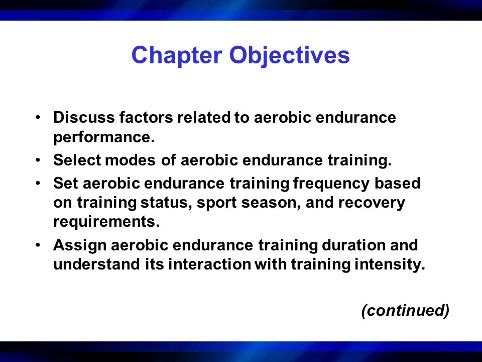Chapter Objectives Discuss factors related to aerobic endurance performance. Select modes of aerobic endurance training. Set aerobic endurance trainin