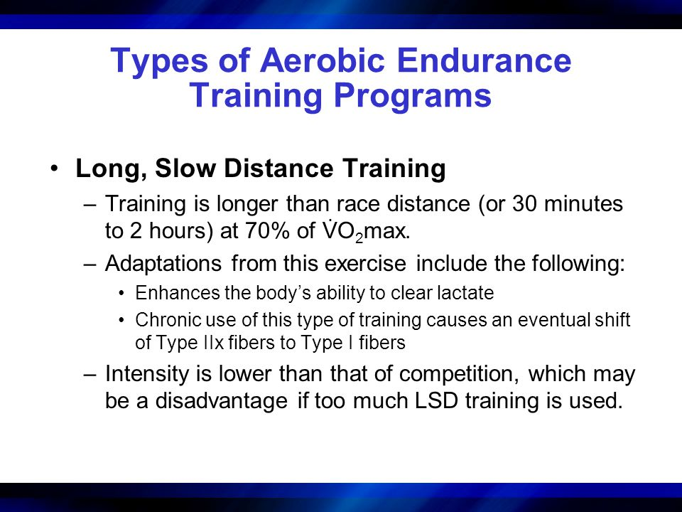 Types of Aerobic Endurance Training Programs Long, Slow Distance Training –Training is longer than race distance (or 30 minutes to 2 hours) at 70% of