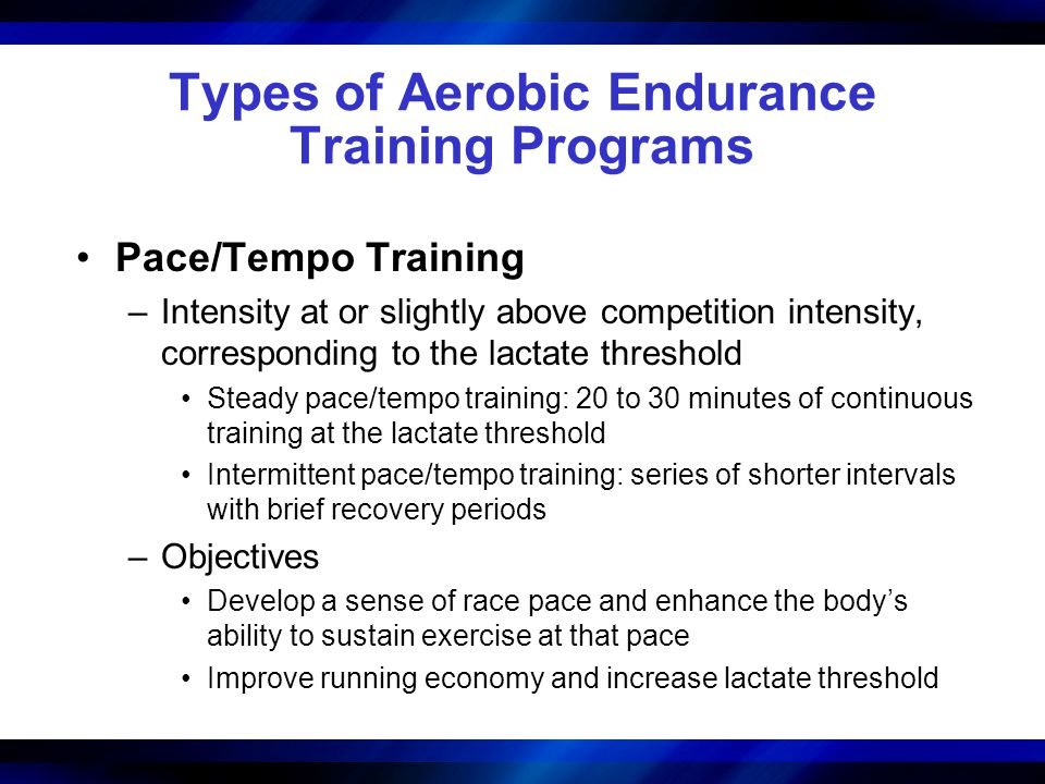 Types of Aerobic Endurance Training Programs Pace/Tempo Training –Intensity at or slightly above competition intensity, corresponding to the lactate t
