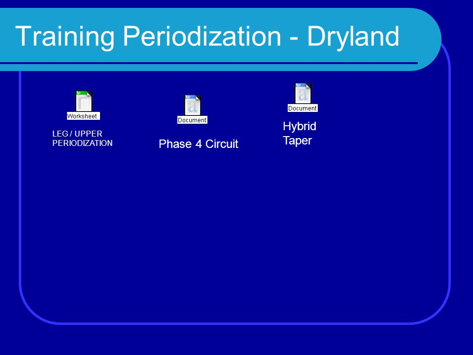 Training Periodization - Dryland Hybrid Taper Phase 4 Circuit LEG / UPPER PERIODIZATION